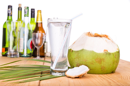 hangover: Fresh and refreshing coconut fruit juice re-hydrates and helps relief alcohol hangover