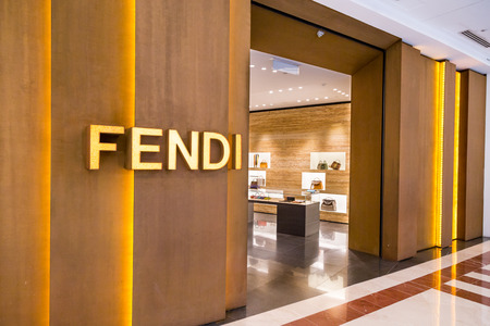 luxury goods: KUALA LUMPUR, MALAYSIA, May 20, 2016: Exterior of the Fendi boutique in KLCC, Kuala Lumpur.  Fendi is a multinational luxury goods brand owned by LVMH Moet Hennessy Louis Vuitton.
