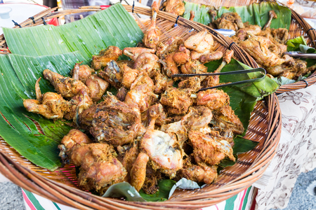 break fast: Fried chicken with spice, popular at food bazaar in Malaysia during fasting month of Ramadan. Stock Photo
