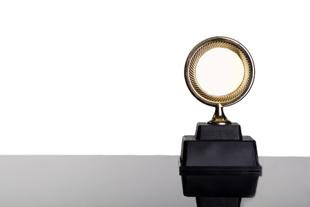 white achievement: Gold medal trophy with space for text on white background Stock Photo