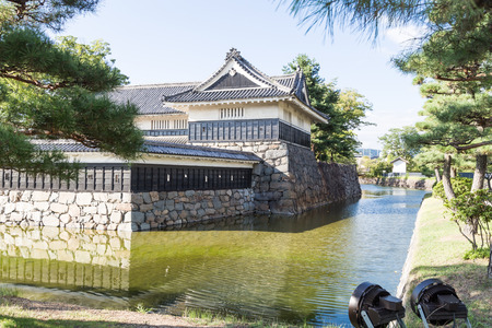 feudal: Matsumoto castle at Nagano, Japan against blue sky during summer Editorial