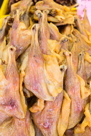 delicacy: Heap of Chinese preserved waxed duck thigh, popular delicacy during Chinese New Year