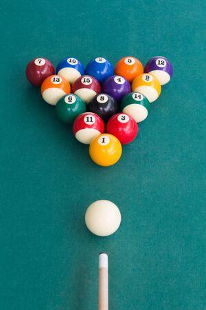 Overhead view of pool billards snooker balls on green table ready to break Stock Photo