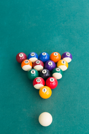 Overhead view of pool billards snooker balls on green table ready to break Stock Photo