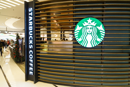 HONG KONG, January 29, 2017: Starbucks Corporation is an American coffee company and coffeehouse chain. with outlets globally including Hong Kong.