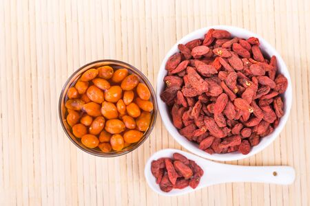 chinese wolfberry: Goji berries or Wolfberry tea, traditional Asian remedy to improve eyesight