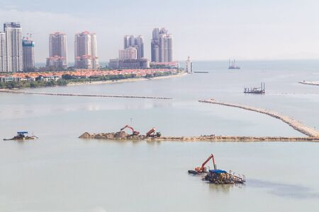 gurney: Sea land reclaiming activity at Gurney drive Penang Malaysia, Asia Stock Photo