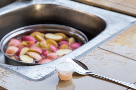 oxidize: Soak apple in water with salt to prevent oxidation or apple turning brown