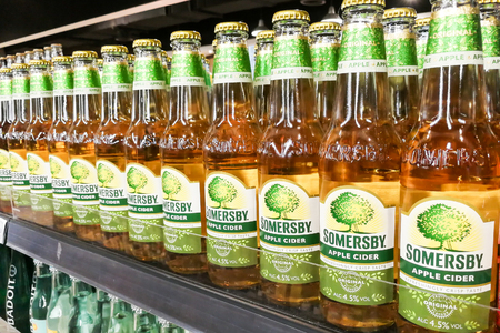 KUALA LUMPUR, Malaysia, June 25, 2017:  Somersby cider is a brand of Danish brewing company Carlsberg Group. It is one of the leading cider brand in Malaysia. Editorial