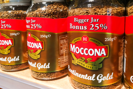 grounded: KUALA LUMPUR, Malaysia, June 25, 2017: Moccona is a brand of coffee produced by the Dutch corporation Douwe Egberts.  Currently known as JACOBS DOUWE EGBERTS (JDE)