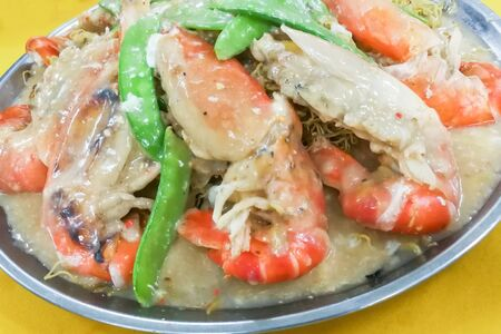 Sang Har Mee or fried noodle with big fresh water prawns. Delicious but  expensive delicacy in Malaysia Stock Photo