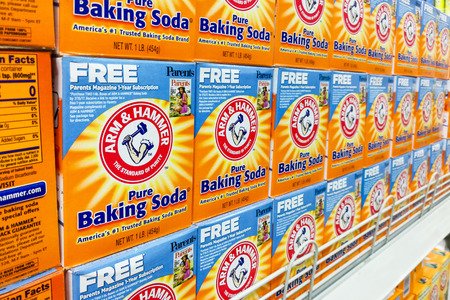 KUALA LUMPUR, Malaysia, August 25, 2017: Arm & Hammer Baking Soda is the trademark of Church & Dwight Co., Inc. Block displayed in supermarkets, It is the leading premium baking soda brand in Malaysia.