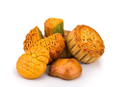 Variety of mooncakes for Chinese mid-autumn festival celebration isolated in white background 版權商用圖片