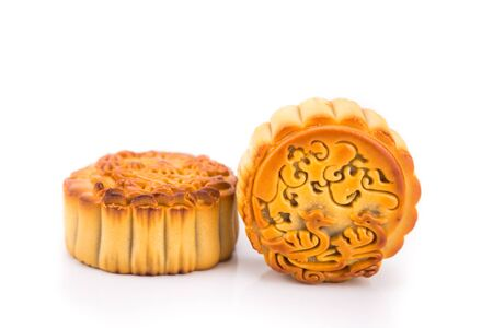 Close-up on mooncake, pastries for Chinese mid-autumn festive in white background