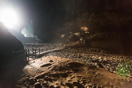 Large chamber within Deer Cave of Mulu National Park, Sarawak, Malaysia Stock Photo