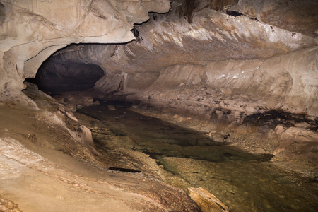 Chamber in Clear Water Cave with underground river, Mulu National Park, Sarawak, Malaysia