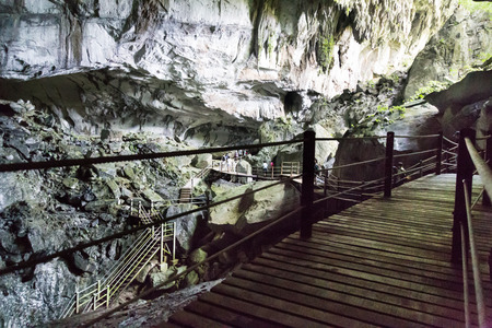Massive chamber with plank walk trail in Clear Water Cave, Mulu National Park, Sarawak, Malaysia