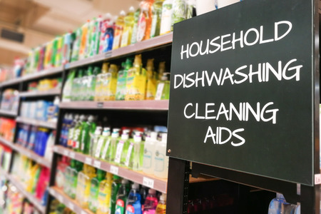 Household, dishwash and cleaning aids signage grocery categoy aisle at supermarket