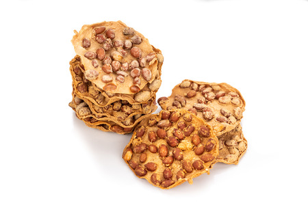 Rempeyek is fried cracker snack with peanut, popular in Malaysia and Indonesia