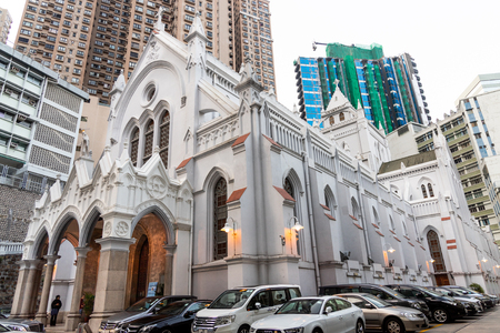 HONG KONG, February 9, 2019: The Cathedral of the Immaculate Conception is a late 19th-century English Gothic revival church. Located in the Mid-Levels area of the city. Redakční