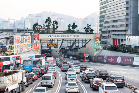HONG KONG, February 9, 2019: The Cross-Harbour Tunnel is the first tunnel in Hong Kong built underwater. Consists of two steel road tunnels each with two lanes. Editorial