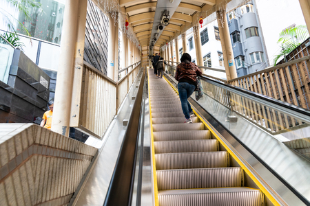 HONG KONG, February 9, 2019:  The Central Mid-Levels escalator and walkway system is the longest outdoor covered escalator system in the world. 800 metres in distance. Elevation over 135 metres. 報道画像
