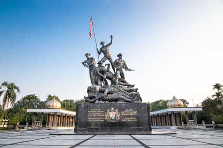 KUALA LUMPUR, MALAYSIA, APpril 18, 2019: Tugu Negara National Monument, a popular tourist destination in Kuala Lumpur.  Commemorates those who died in struggle for freedom Editorial