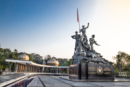 KUALA LUMPUR, MALAYSIA, APpril 18, 2019: Tugu Negara National Monument, a popular tourist destination in Kuala Lumpur.  Commemorates those who died in struggle for freedom Redactioneel