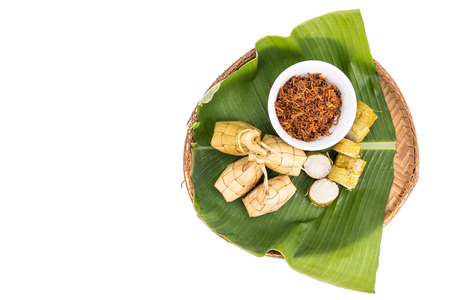 Ketupat, lemang, served with serunding, popular Malay delicacies during Hari Raya celebration in Malaysia