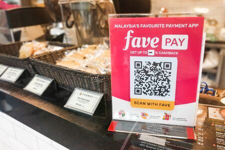 KUALA LUMPUR, MALAYSIA, September 17, 2019: Retail outlet restaurant displaying signage of Favepay.  Online payment via Fave Pay is accepted.