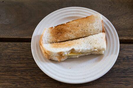 Pain grillé au beurre kaya, petit-déjeuner populaire parmi les chinois malais Banque d'images