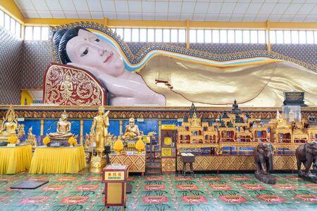 PENANG, MALAYSIA, February 15, 2020: Wat Chaiya Mangalaram with popular reclining sleeping Buddha is popular tourism destination in Penang. Editorial