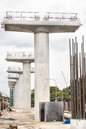 Construction of Mass Rail Transit column infrastructure in progress to improve transportation network