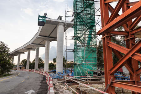 Construction of mass light rail transit train track infrastructure in progress in Malaysia Banco de Imagens
