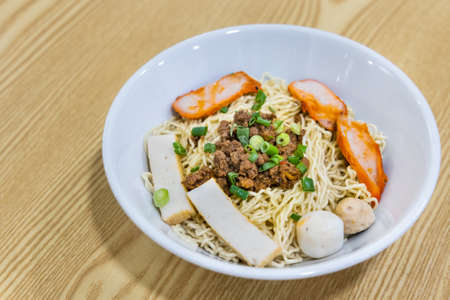 Kolo mee, or dry noodle. Served with minced pork . Popular food in Sarawak, Malaysia