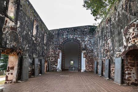 Portuguese historic ruins of Saint Paul Church with tombstone is Malacca popular tourist destination. No people. 版權商用圖片