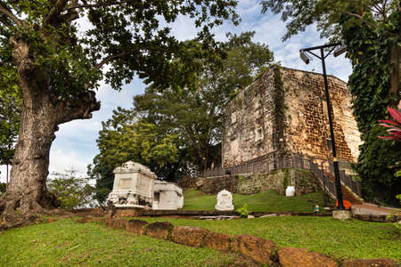 Portuguese historic ruins of Saint Paul Church with tombstone and graves is Malacca popular tourist destination. No people. 版權商用圖片