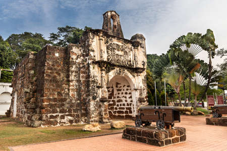 Historic ruins A Famosa is ancient Portuguese fortress. Popular tourism destination in Malacca. No people.