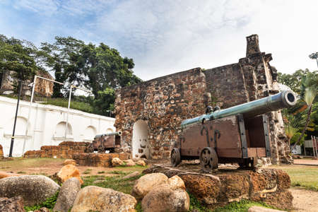Historic ruins A Famosa is ancient Portuguese fortress. Popular tourism destination in Malacca. No people in photo.