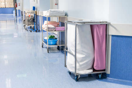 Laundry bags collect dirty used linen of patients at hospital ward