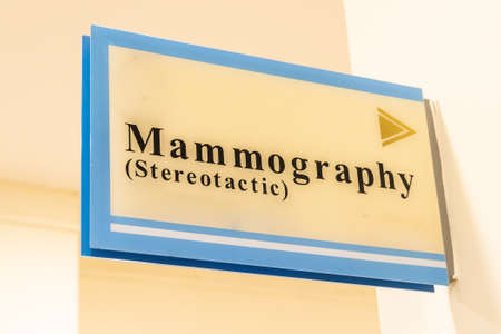 Mammography word direction signage at hospital corridor