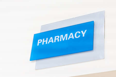 Pharmacy word signage on wall of hospital 写真素材