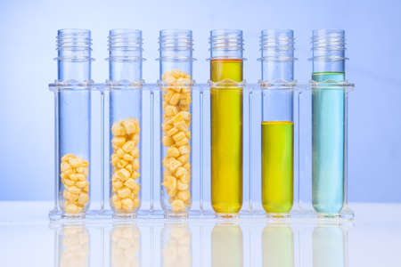 Ethanol biofuel derived from corn maze with test tubes in laboratory 写真素材