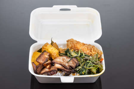 Biodegradable lunch box with rice, vegetable and food, convenient for food takeaway delivery 写真素材