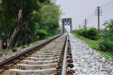 Railway bridge at Bangkoknoi, Talingchan, Thailand.  It is near Talingchan floating market. Stock Photo - 9560701