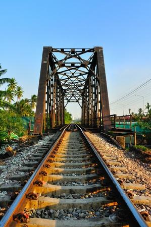 Railway bridge at Bangkoknoi, Talingchan, Thailand. It is near Talingchan floating market. photo
