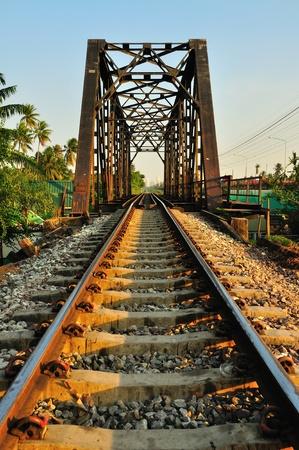 Railway bridge at Bangkoknoi, Talingchan, Thailand. It is near Talingchan floating market.