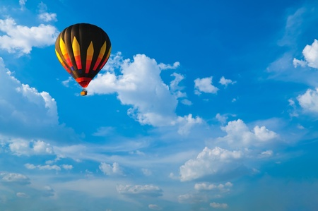 clear day: Hot air balloon with blue sky