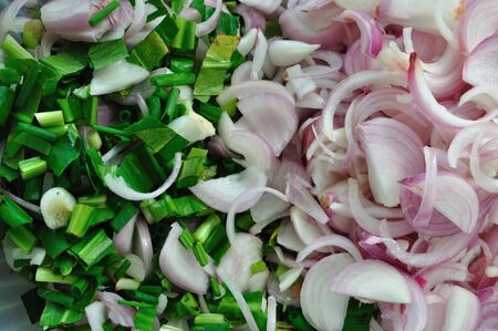 Sliced Red onion and spring onion photo