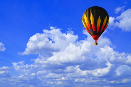 Hot air balloon with blue sky and nice cloud in Thailand. photo